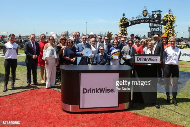 Presentation to connections of Linguist after winning the DrinkWise Plate at Flemington Racecourse on November 09 2017 in Flemington Australia