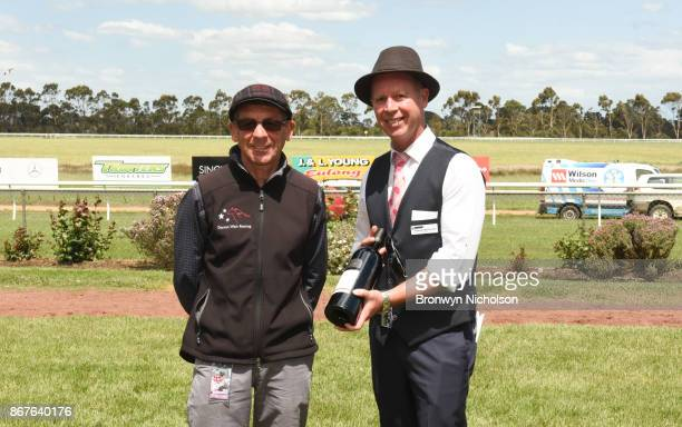 Presentation to connections of Zepherine after winning the Patrick Of Coonawarra Maiden Plate at Hamilton Racecourse on October 29 2017 in Hamilton...