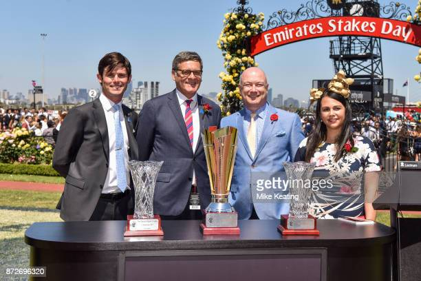 Presentation to James Cummings and connections of Moher after winning the Sensis Digital Trophy at Flemington Racecourse on November 11 2017 in...