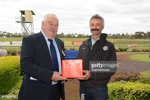Presentation to trainer of Nahanni after winning Patrick of Coonawarra Maiden Plate at Hamilton Racecourse on October 23 2016 in Hamilton Australia