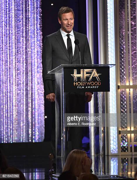 Presenter Aaron Eckhart speaks onstage during the 20th Annual Hollywood Film Awards on November 6 2016 in Beverly Hills California