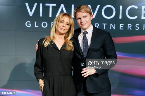 Presenter Actor Activist Rosanna Arquette presents an award to Honoree Investigative Journalist Ronan Farrow during Vital Voices Global Partnership...