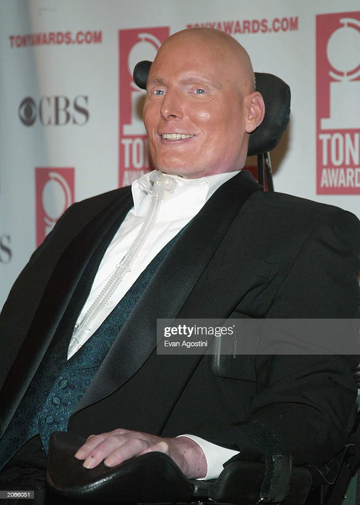 Presenter actor Christopher Reeves poses backstage at the '57th Annual Tony Awards' at Radio City Music Hall on June 8, 2003 in New York City. The Tony Awards are presented by the League of American Theatres and Producers and the American Theatre Wing.