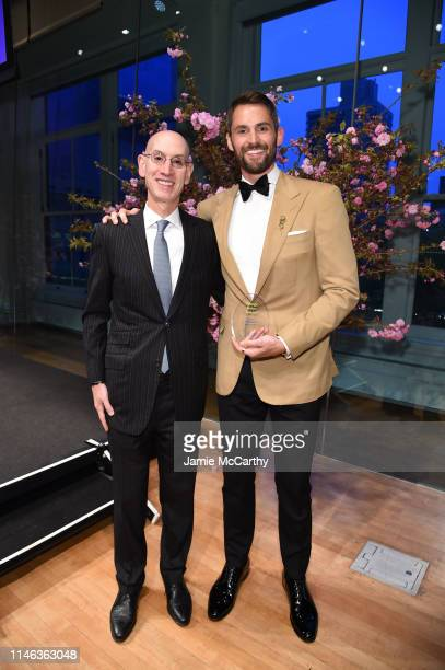 Presenter Adam Silver and Honoree Kevin Love pose with an award backstage the Child Mind Institute's 2019 Change Maker Awards at Carnegie Hall on May...