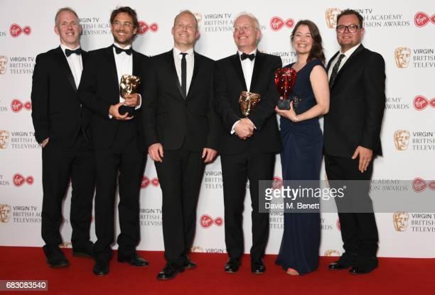Presenter Alan Carr poses with Justin Anderson Fredi Devas Tom HughJones Mike Gunton and Elizabeth White winners of the Virgin TV MustSee Moment for...
