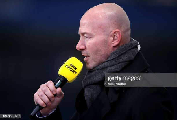Presenter Alan Shearer during the Emirates FA Cup Quarter Final match between Leicester City and Manchester United at The King Power Stadium on March...
