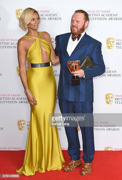 Presenter Alesha Dixon and Leigh Francis winner of the Entertainment Performance award for 'Celebrity Juice' pose in the winners room at the House Of...