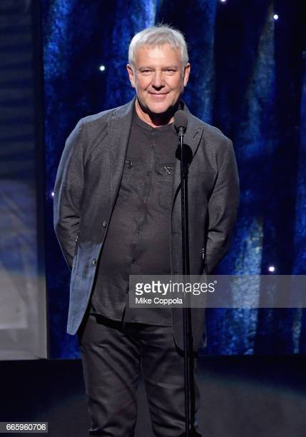 Presenter Alex Lifeson of Rush speaks onstage at the 32nd Annual Rock Roll Hall Of Fame Induction Ceremony at Barclays Center on April 7 2017 in New...