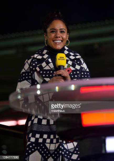 Presenter Alex Scott talks live on the BBC before the Emirates FA Cup match between F.C. United of Manchester and Doncaster Rovers at Broadhurst Park...
