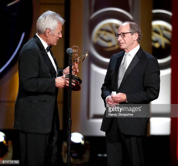 Presenter Alex Trebeck and lifetime achievement award winner Harry Friedman attend the 44th annual daytime creative arts Emmy awards show at Pasadena...