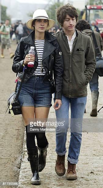 TV presenter Alexa Chung and Alex Turner of pop band Arctic Monkeys attend Galstonbury Festival on June 27 2008 in Glastonbury England