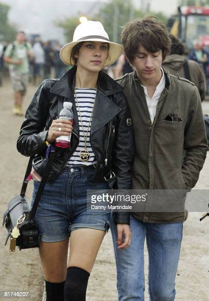TV presenter Alexa Chung and Alex Turner of pop band Arctic Monkeys attend Galstonbury Festival on June 27 2008 in Glastonbury England