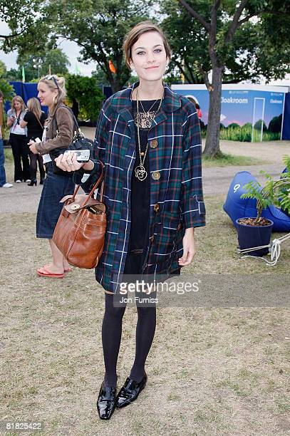Presenter Alexa Chung poses behind the main stage in the O2 VIP Lounge during Day Two of the O2 Wireless Festival in Hyde Park on July 4, 2008 in...