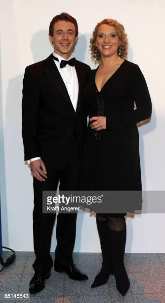 Presenter Alexander Bommes and Julia Westlake pose before the NDR Talkshow Celebration Show on February 27 2009 in Hamburg Germany