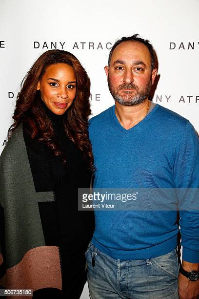 Presenter Alicia Fall and Designer Dany Atrache attend the Dany Atrache Spring Summer 2016 show as part of Paris Fashion Week on January 25 2016 in...