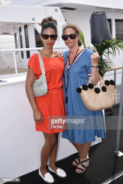 TV presenter Alicia Fall and PR Esther Meyniel attend the Buffalo 8 Press Conference as part of Technikart Boat Party At the Belle De Jersey Boat The...