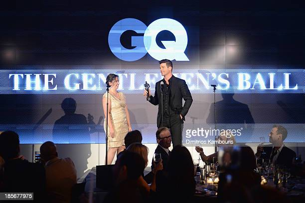 Presenter Allison Morris and Singer Robin Thicke speak onstage at the 2013 GQ Gentlemen's Ball presented by BMW i Movado and Nautica at IAC Building...