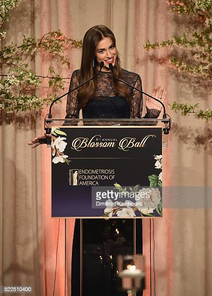 Presenter Allison Williams speaks onstage during the 8th Annual Blossom Ball benefiting the Endometriosis Foundation of America hosted by EFA...