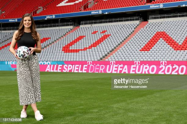 Presenter Amelie Stiefvatter is seen on the pitch during the the Magenta TV EURO 2020 Media Day at Allianz Arena on May 11, 2021 in Munich, Germany.