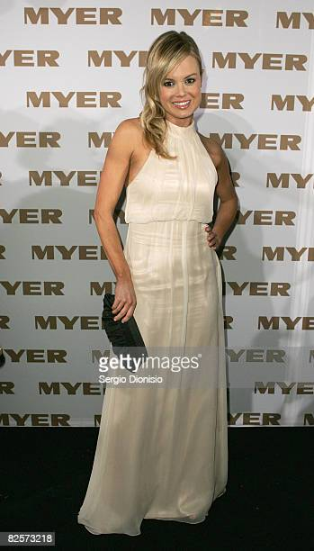 TV presenter Amy Erbacher arrives at the Myer Spring Summer Fashion Launch 2009 at Byron Kennedy Hall Moore Park on August 27 2008 in Sydney...