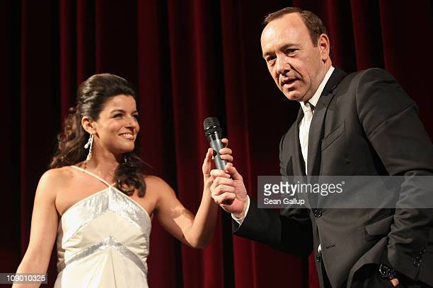 Presenter Ana Plasencia and actor Kevin Spacey speak on stage after the 'Margin Call' Premiere during day two of the 61st Berlin International Film...