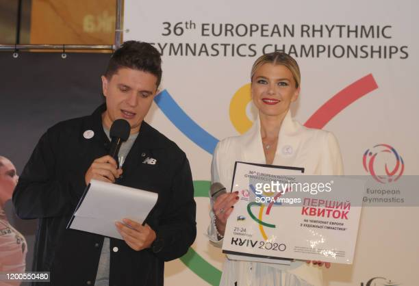 TV presenter Anatoliy Anatolich speaks during the ceremony marking the start of ticket sales for the 36th European Rhythmic Gymnastics Championships...