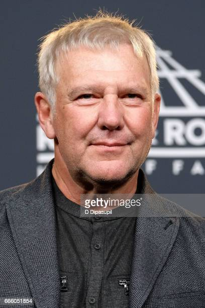 Presenter and 2013 Inductee Alex Lifeson of Rush attends the Press Room of the 32nd Annual Rock Roll Hall of Fame Induction Ceremony at Barclays...