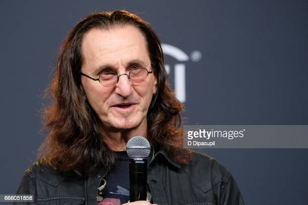 Presenter and 2013 Inductee Geddy Lee of Rush attends the Press Room of the 32nd Annual Rock Roll Hall of Fame Induction Ceremony at Barclays Center...