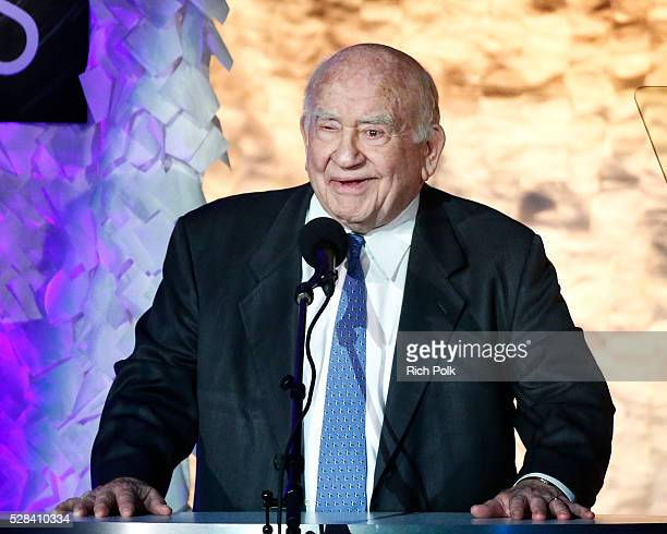 Presenter and Actor Ed Asner speaks on stage at the 17th Annual Golden Trailer Awards on May 04 2016 in Beverly Hills California