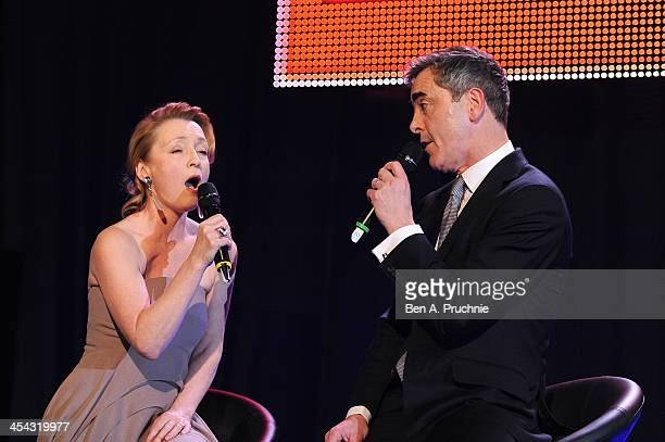 Presenter and actor James Nesbitt and actress Lesley Manville sing during the ceremony for the Moet British Independent Film Awards at Old...