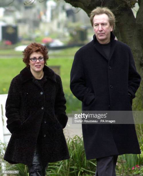 TV presenter and comedienne Ruby Wax and actor Alan Rickman arrive at West London Crematorium for the funeral of the husband of food writer Nigella...