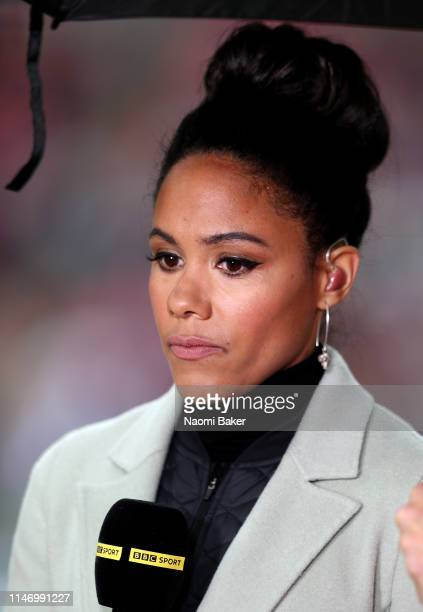 Presenter and ex Arsenal Ladies player Alex Scott is seen during the Women's FA Cup Final match between Manchester City Women and West Ham United...
