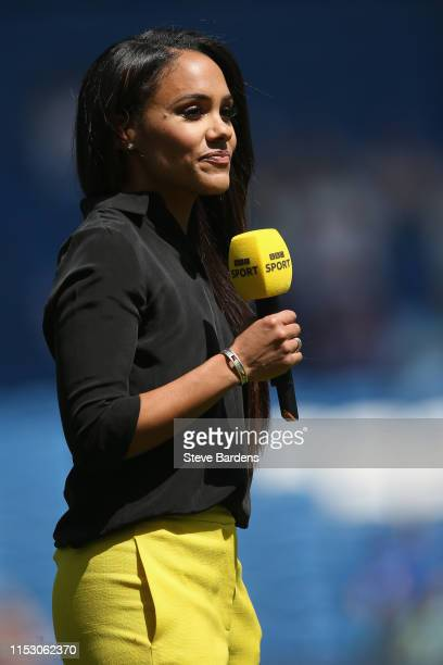 Presenter and ex Arsenal Ladies player Alex Scott is seen prior to the International Friendly between England Women and New Zealand Women at Amex...