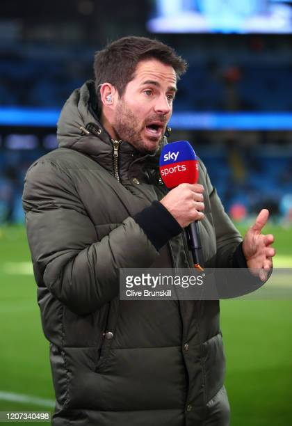 Presenter and former footballer Jamie Redknapp prior to the Premier League match between Manchester City and West Ham United at Etihad Stadium on...