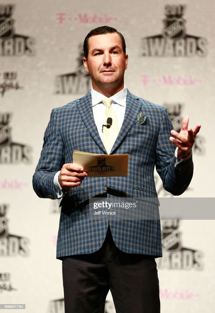 Presenter and former NHL player Marty Turco speaks onstage during the 2017 NHL Humanitarian Awards on June 20, 2017 in Las Vegas, Nevada.
