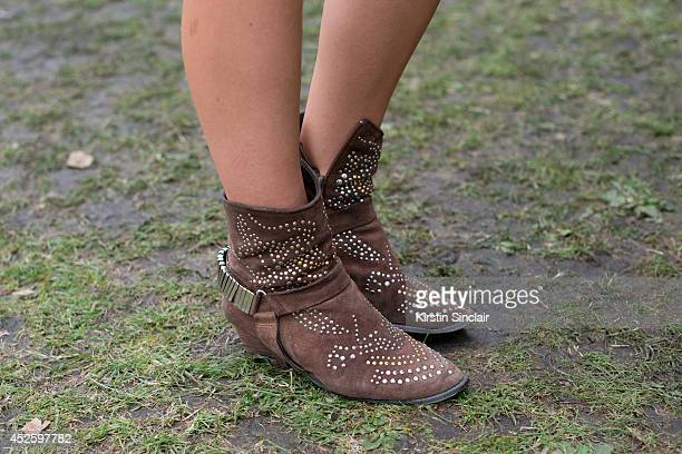 Presenter and Model Danni Menzies wearing Jeffrey Campbell boots at Lovebox 2014 on July 19 2014 in London England