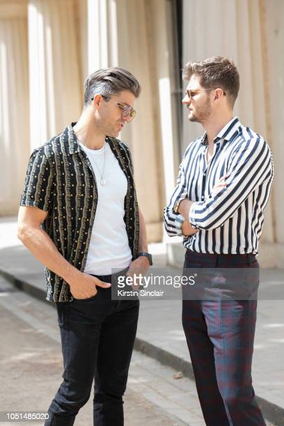 Presenter and Model Darren Kennedy wears Carrera sunglasses All Saints shirt Levi's T shirt and jeans with Digital Influencer and Model Jim Chapman...