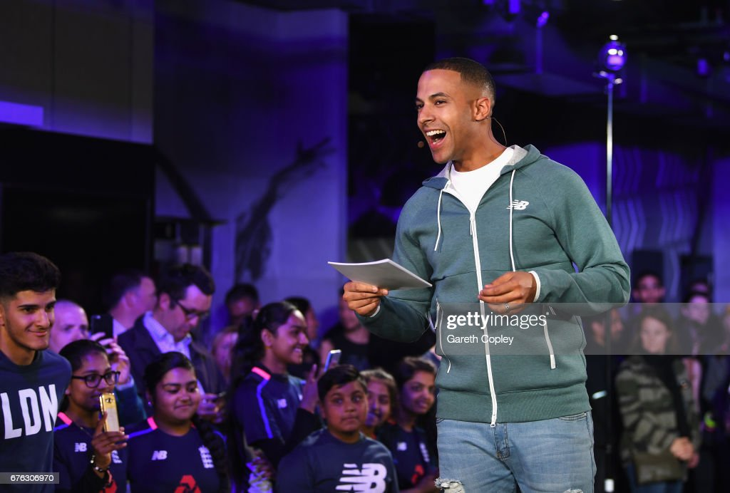 TV presenter and Radio DJ Marvin Humes talks during the New Balance England Cricket Kit Launch at the New Balance store, Oxford Street on May 2, 2017 in London, England.