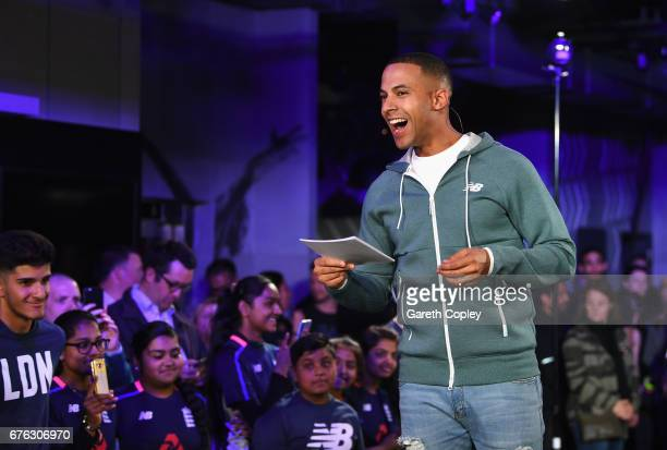 TV presenter and Radio DJ Marvin Humes talks during the New Balance England Cricket Kit Launch at the New Balance store Oxford Street on May 2 2017...