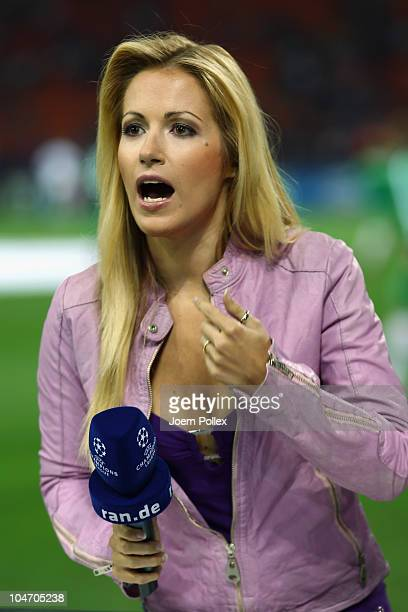 TV presenter Andrea Kaiser is pictured prior to the UEFA Champions League group A match between FC Internazionale Milano and SV Werder Bremen at...