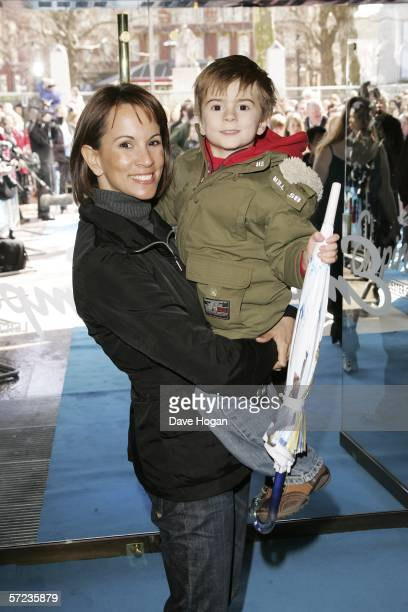 TV presenter Andrea McLean and son Finlay arrive at the UK Premiere of 'Ice Age 2 The Meltdown' at the Empire Leicester Square on April 2 2006 in...