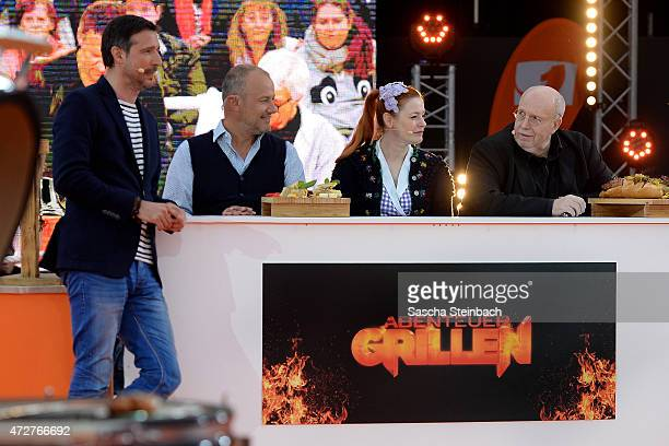 Presenter Andreas Tuerck, Frank Rosin, Enie van de Meiklokjes and Rainer Calmund attend the taping of the tv show 'Abenteuer Grillen - Der kabel eins...