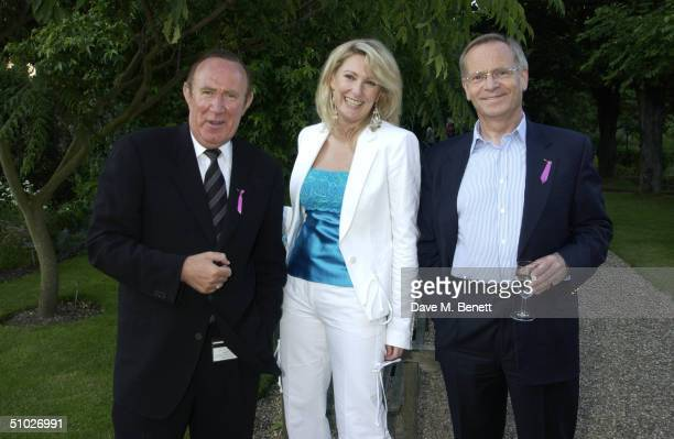 TV presenter Andrew Neil actress Fiona Macpherson and Lord Jeffrey Archer attend the KitKat Club garden party founded by Ghislaine Maxwell to help...