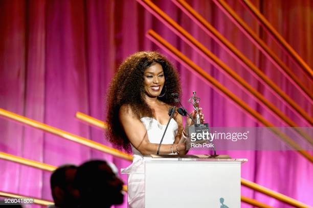 Presenter Angela Bassett speaks onstage during the 2018 Essence Black Women In Hollywood Oscars Luncheon at Regent Beverly Wilshire Hotel on March 1...