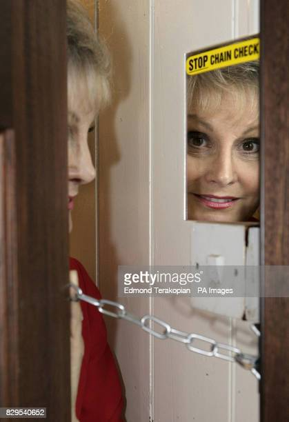 TV presenter Angela Rippon promoting 'Lock Stop Chain Check' a Home Office initiative designed to advise older people on how to avoid falling victim...