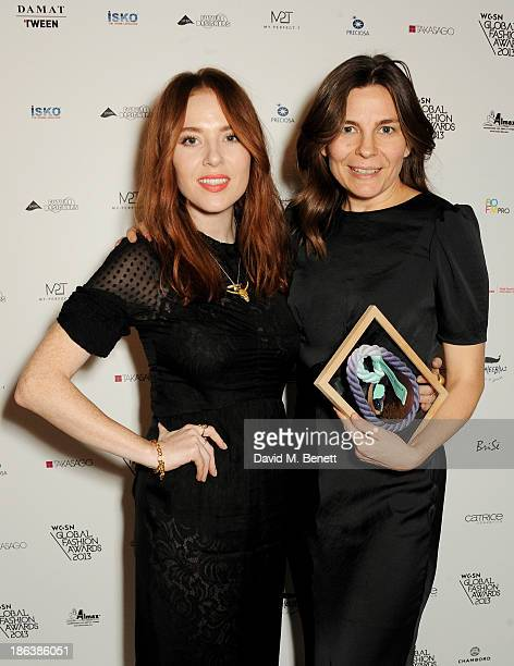 Presenter Angela Scanlon and Kate Walmsley of Topshop winner of the Best MultiChannel Retailer award pose backstage at The WGSN Global Fashion Awards...