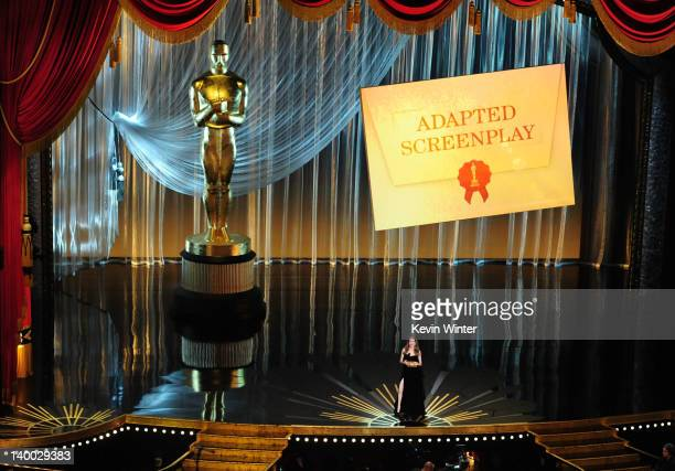 Presenter Angelina Jolie speaks onstage during the 84th Annual Academy Awards held at the Hollywood Highland Center on February 26 2012 in Hollywood...