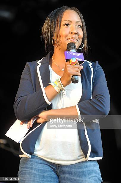 TV presenter Angellica Bell introduces the performers on the Europe stage during BT River Of Music Festival 2012 at Somerset House on July 22 2012 in...