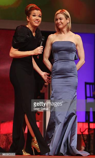 Presenter Anke Engelke and jury member Rene Zellweger attend the Opening Ceremony of the 60th Berlin International Film Festival at the Berlinale...
