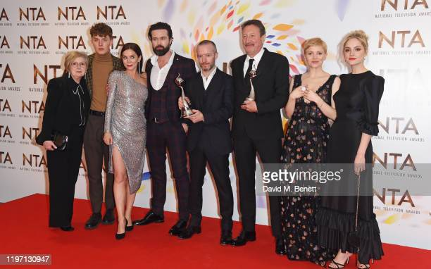 Presenter Anna Friel poses with Harry Kirton Emmett J Scanlan Anthony Byrne Steven Knight Kate Phillips and Sophie Rundle accepting the Drama...
